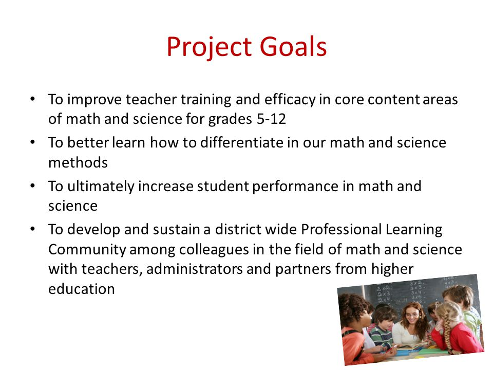 Project Goals To improve teacher training and efficacy in core content areas of math and science for grades 5-12 To better learn how to differentiate in our math and science methods To ultimately increase student performance in math and science To develop and sustain a district wide Professional Learning Community among colleagues in the field of math and science with teachers, administrators and partners from higher education