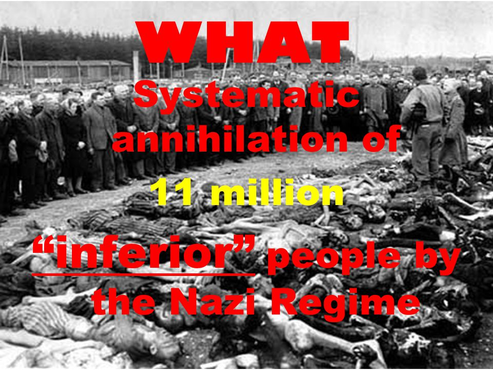 WHAT Systematic annihilation of 11 million inferior people by the Nazi Regime