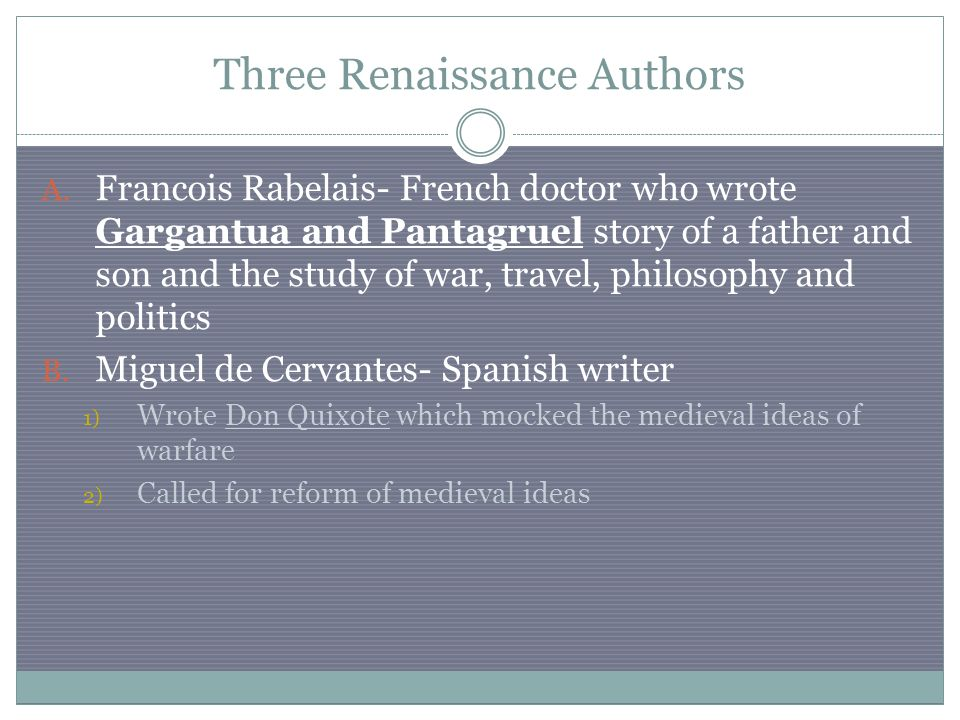 Three Renaissance Authors A.