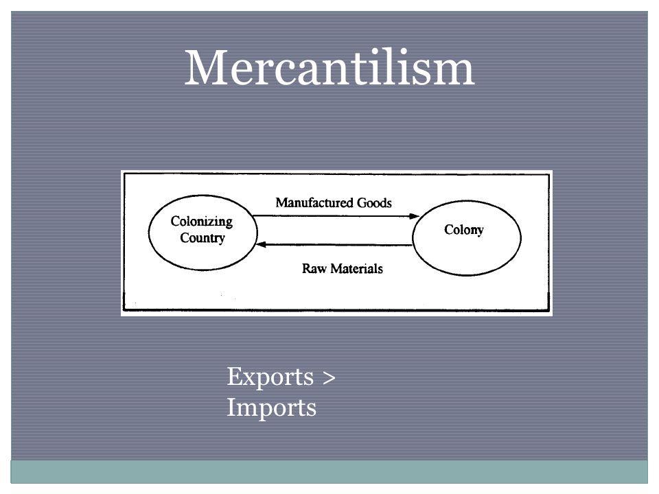 Mercantilism Exports > Imports