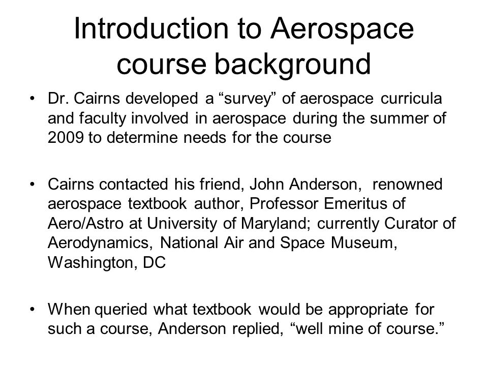 Introduction to Aerospace course background Dr.