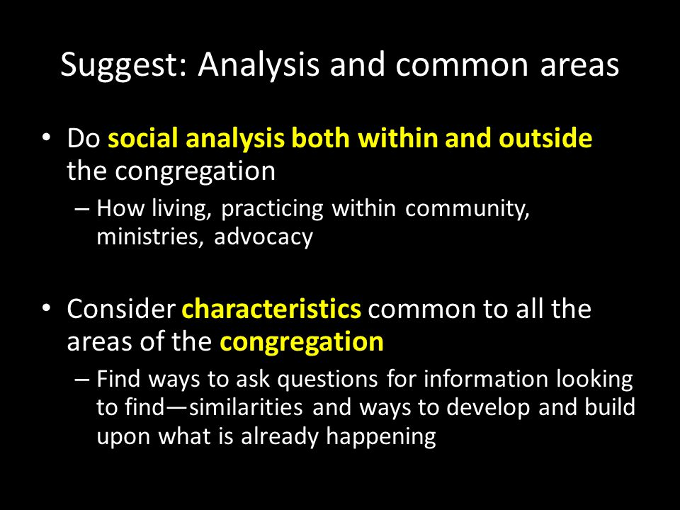 Suggest: Analysis and common areas Do social analysis both within and outside the congregation – How living, practicing within community, ministries, advocacy Consider characteristics common to all the areas of the congregation – Find ways to ask questions for information looking to find—similarities and ways to develop and build upon what is already happening