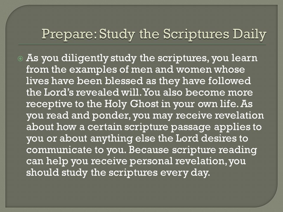  As you diligently study the scriptures, you learn from the examples of men and women whose lives have been blessed as they have followed the Lord's revealed will.
