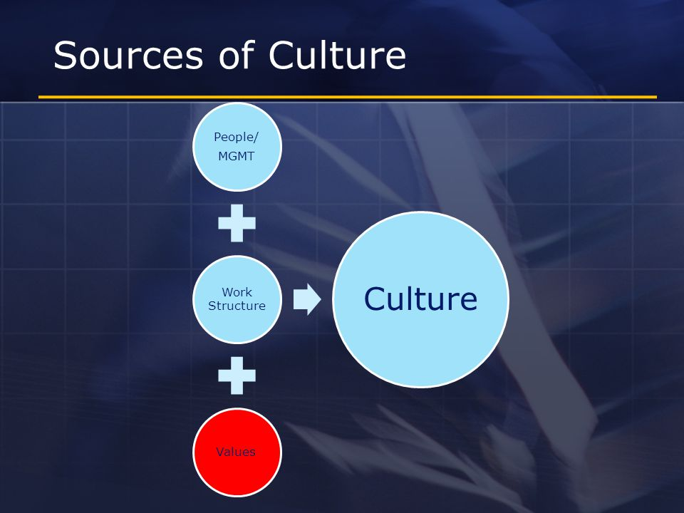 Sources of Culture People/ MGMT Work Structure Values Culture