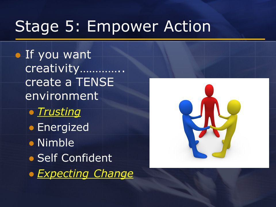 Stage 5: Empower Action If you want creativity…………..