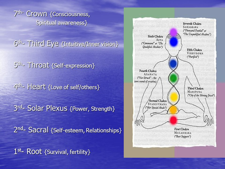 7 th- Crown {Consciousness, Spiritual awareness} 6 th - Third Eye {Intuitive/Inner vision} 5 th - Throat {Self-expression} 4 th - Heart {Love of self/others} 3 rd - Solar Plexus {Power, Strength} 2 nd - Sacral {Self-esteem, Relationships} 1 st - Root {Survival, fertility}