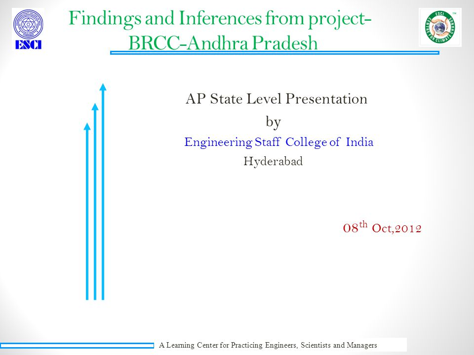 A Learning Center for Practicing Engineers, Scientists and Managers Findings and Inferences from project- BRCC-Andhra Pradesh AP State Level Presentation by Engineering Staff College of India Hyderabad 08 th Oct,2012