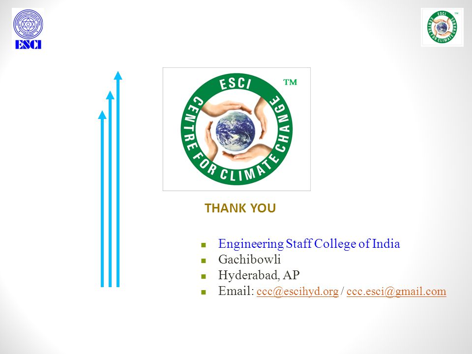 THANK YOU Engineering Staff College of India Gachibowli Hyderabad, AP Email: ccc@escihyd.org / ccc.esci@gmail.com ccc@escihyd.orgccc.esci@gmail.com