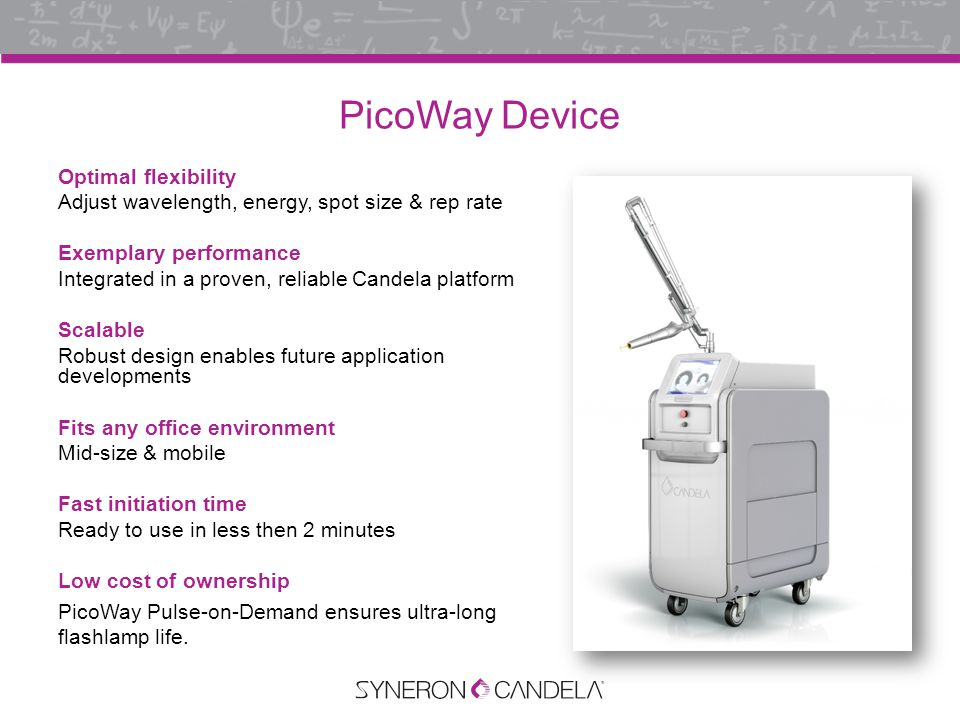 PicoWay Featherweight Handpiece Optimal user experience Featherweight handpiece & articulated arm provide 7 degrees of positioning flexibility Ergonomic Featherweight handpiece & articulated arm mean improved operator comfort over large treatment areas & long treatment days Tunable spot sizes Customize treatments with broad range of spot sizes Large spot sizes Faster coverage and the depth penetration needed for some lesions