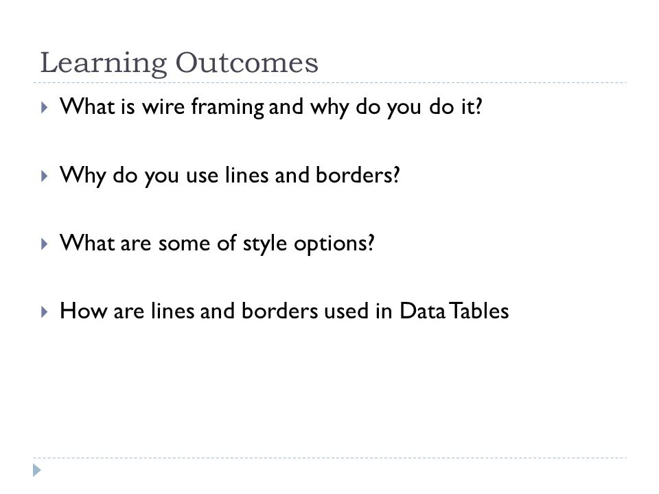 Learning Outcomes  What is wire framing and why do you do it.
