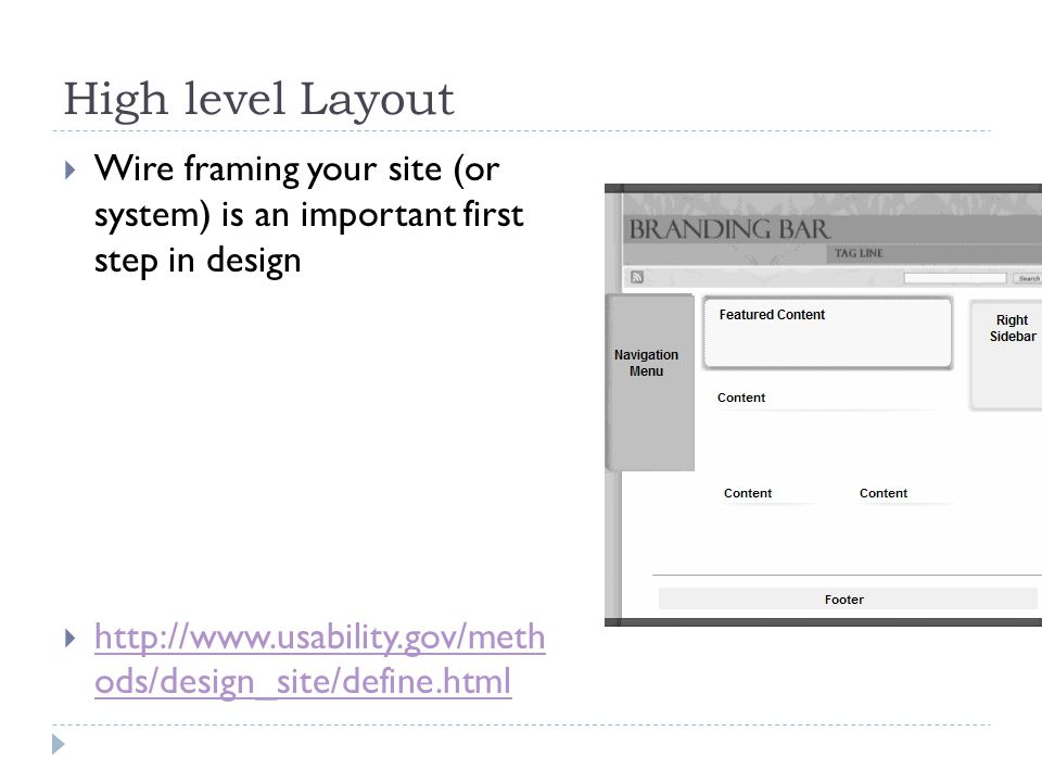 High level Layout  Wire framing your site (or system) is an important first step in design  http://www.usability.gov/meth ods/design_site/define.html http://www.usability.gov/meth ods/design_site/define.html