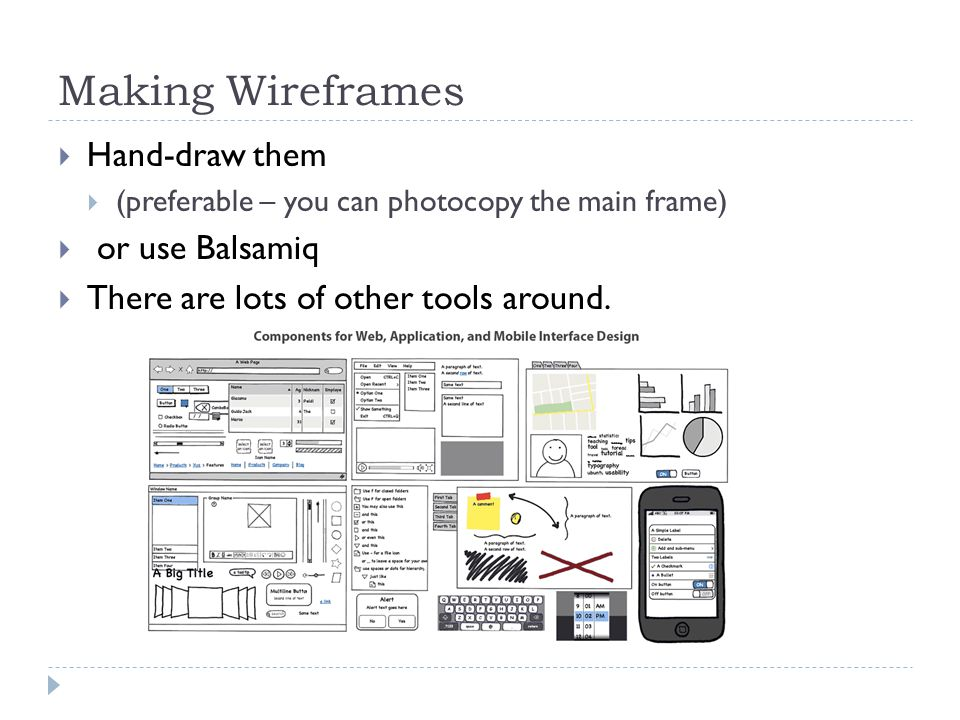 Making Wireframes  Hand-draw them  (preferable – you can photocopy the main frame)  or use Balsamiq  There are lots of other tools around.