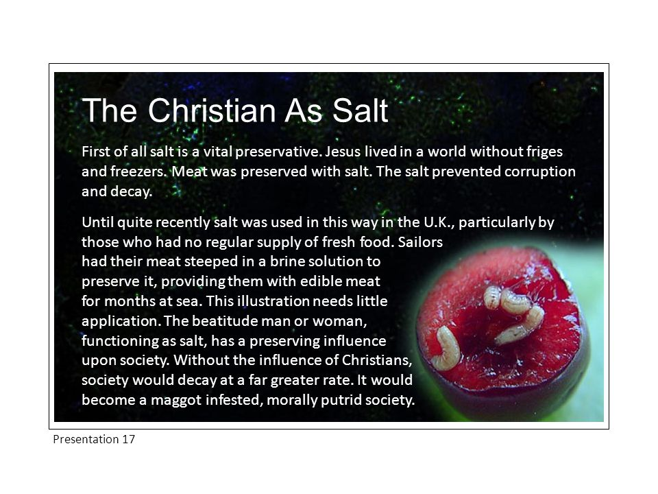 Presentation 17 The Christian As Salt First of all salt is a vital preservative.