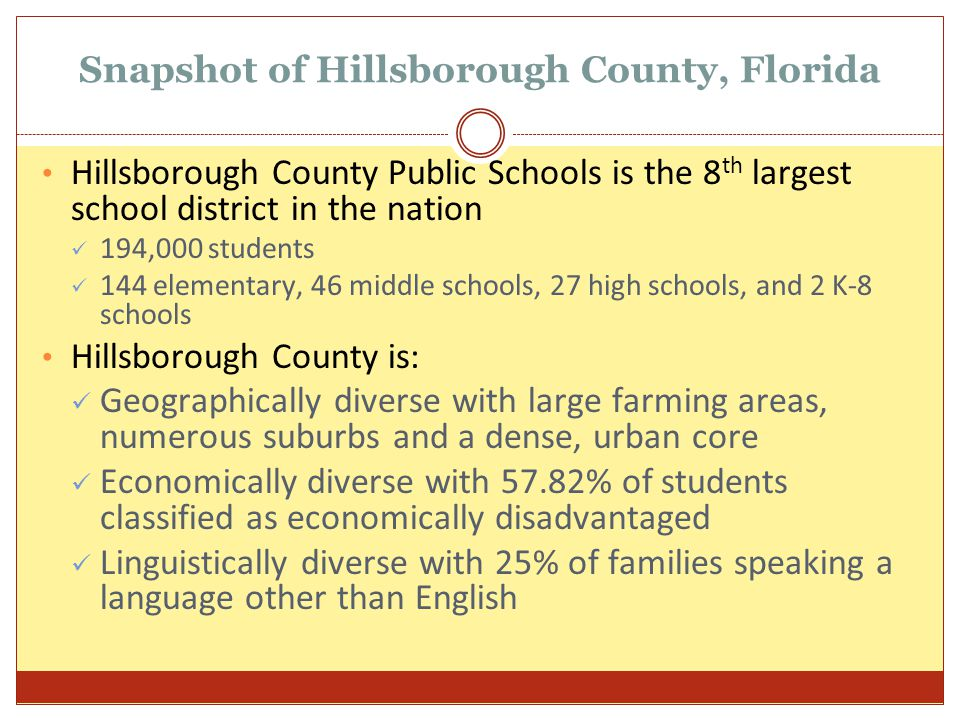 Snapshot of Hillsborough County, Florida Hillsborough County Public Schools is the 8 th largest school district in the nation 194,000 students 144 ele