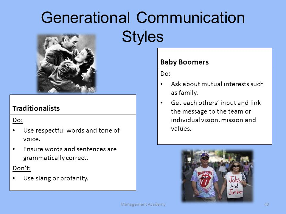 Generational Communication Styles Traditionalists Do: Use respectful words and tone of voice.