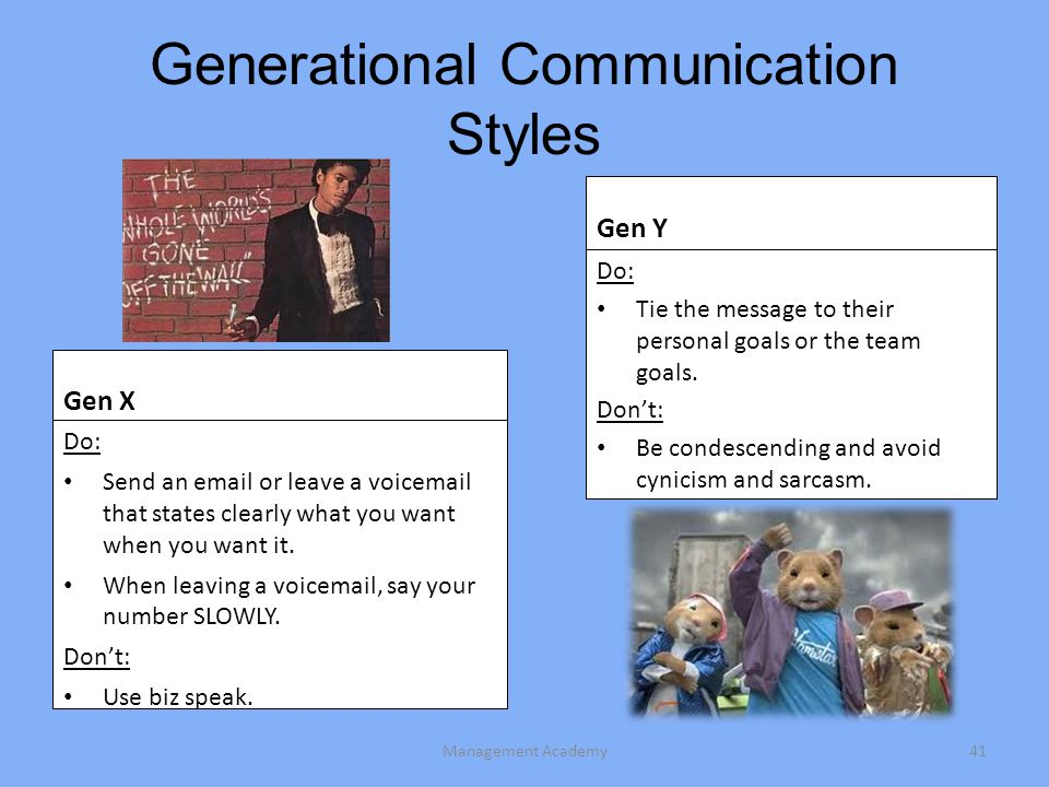 Generational Communication Styles Gen X Do: Send an email or leave a voicemail that states clearly what you want when you want it.