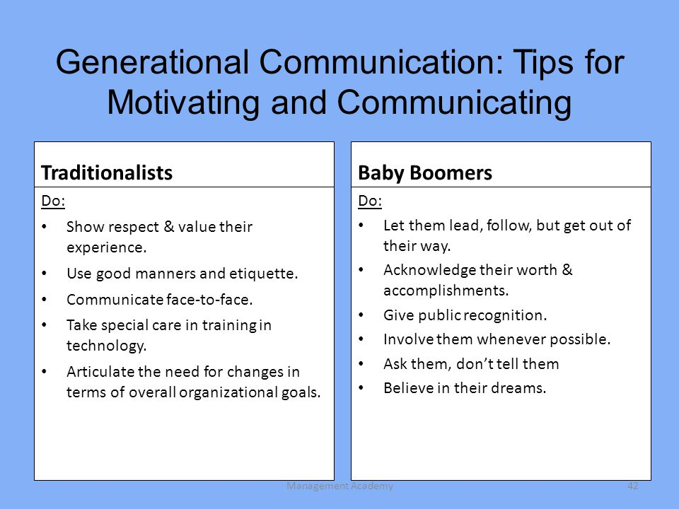 Generational Communication: Tips for Motivating and Communicating Traditionalists Do: Show respect & value their experience.