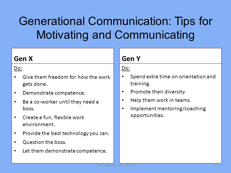 Generational Communication: Tips for Motivating and Communicating Gen X Do: Give them freedom for how the work gets done.