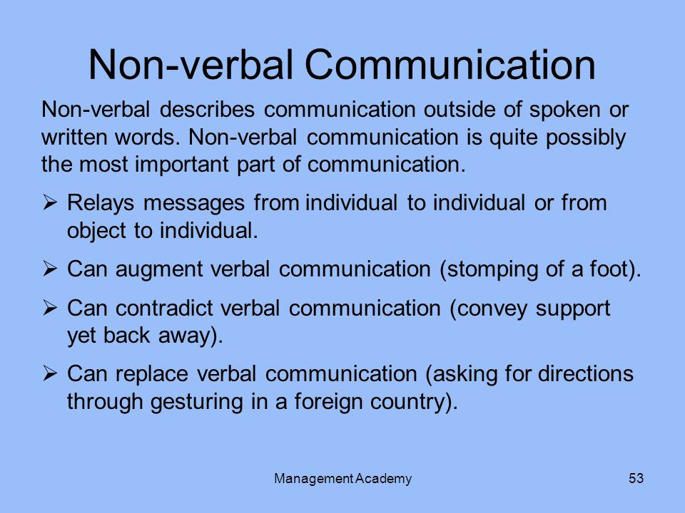 Non-verbal describes communication outside of spoken or written words.