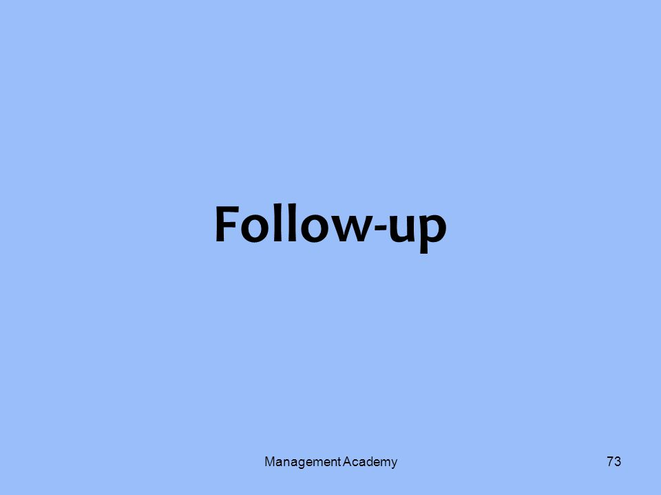 Follow-up Management Academy73