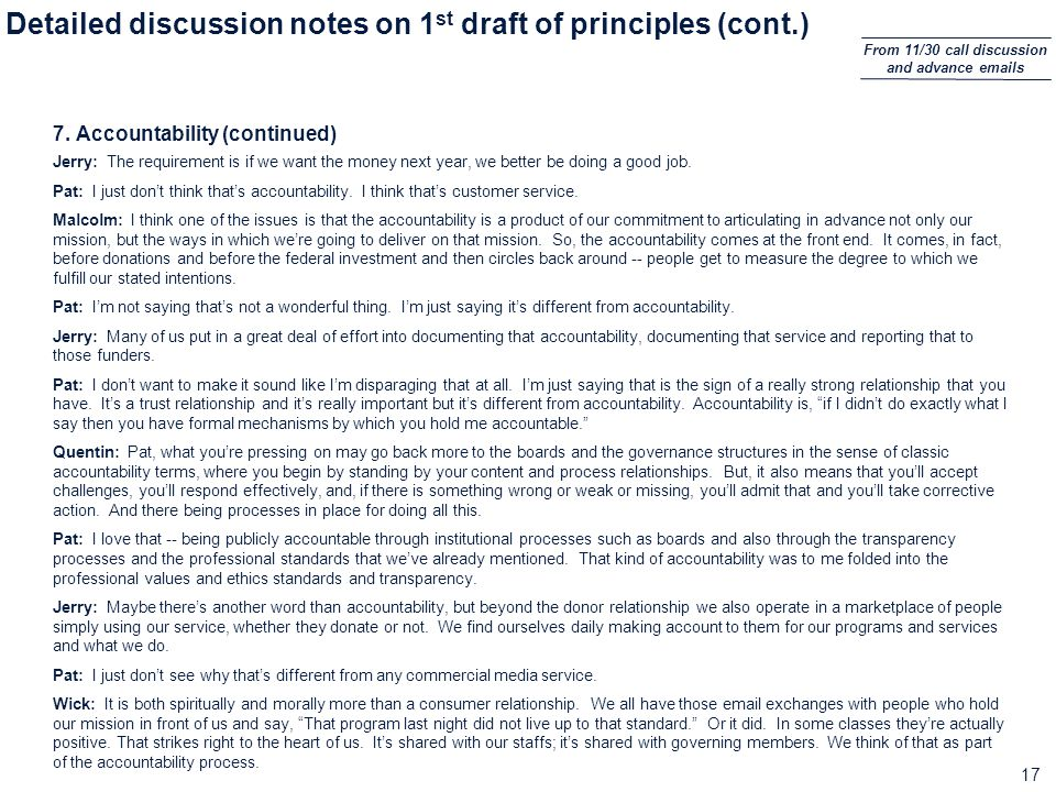 17 Detailed discussion notes on 1 st draft of principles (cont.) 7.