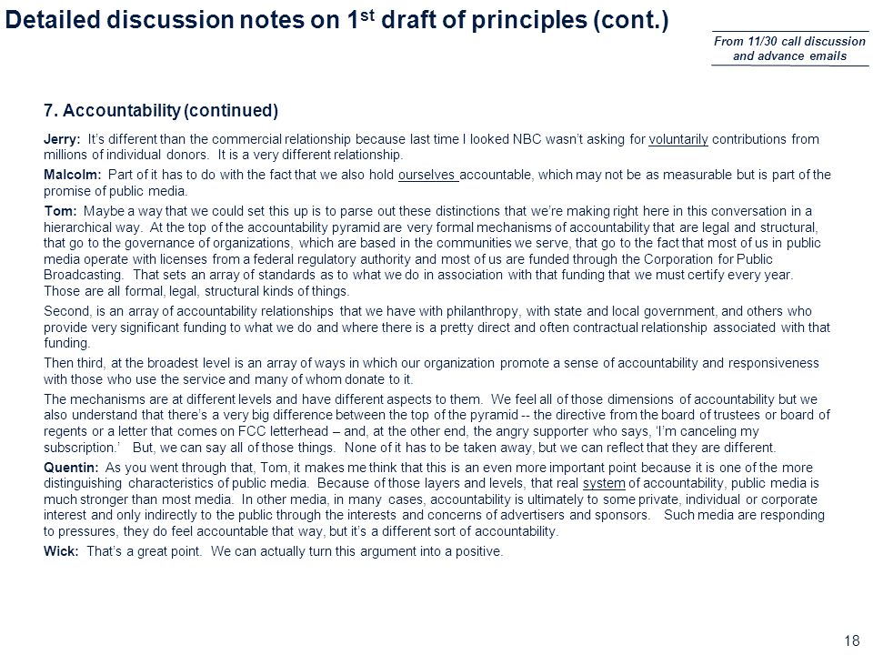 18 Detailed discussion notes on 1 st draft of principles (cont.) 7.