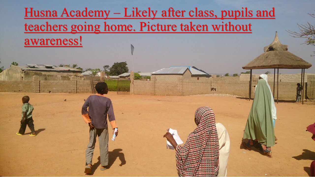 Husna Academy – Likely after class, pupils and teachers going home.