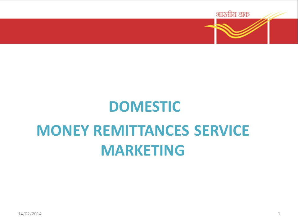 DOMESTIC MONEY REMITTANCES SERVICE MARKETING 14/02/20141