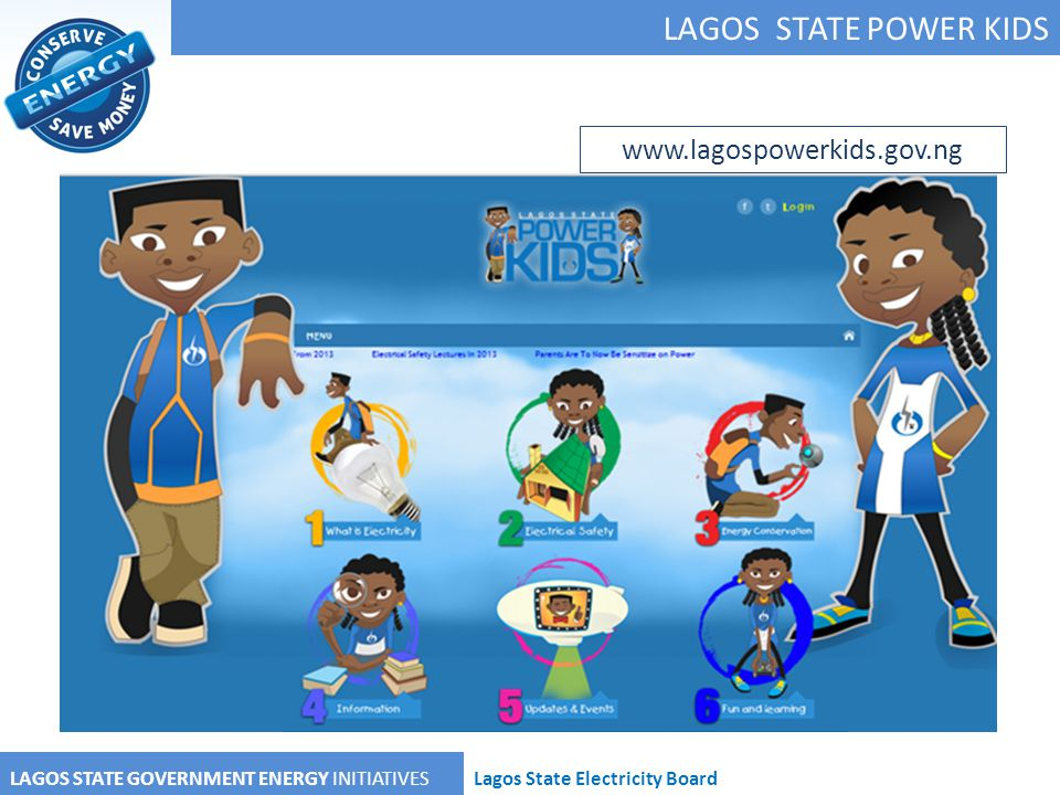 LAGOS STATE POWER KIDS LAGOS STATE GOVERNMENT ENERGY INITIATIVESLagos State Electricity Board www.lagospowerkids.gov.ng