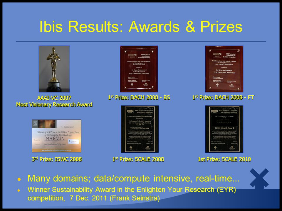 Ibis Results: Awards & Prizes 1 st Prize: SCALE 2008 1 st Prize: SCALE 2008 AAAI-VC 2007 Most Visionary Research Award 1 st Prize: DACH 2008 - BS 1 st Prize: DACH 2008 - BS 1 st Prize: DACH 2008 - FT 1 st Prize: DACH 2008 - FT WebPie: A Web-Scale Parallel Inference Engine J.