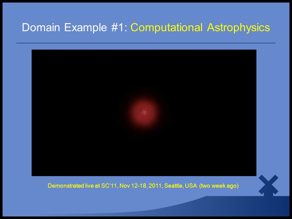 Domain Example #1: Computational Astrophysics Demonstrated live at SC'11, Nov 12-18, 2011, Seattle, USA (two week ago)
