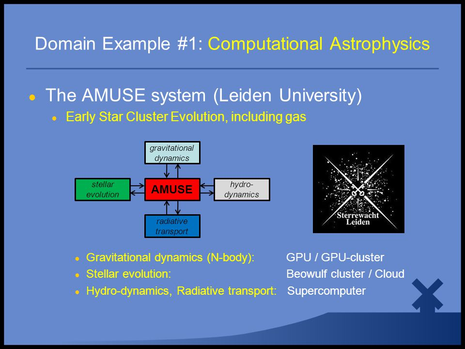 Domain Example #1: Computational Astrophysics AMUSE radiative transport gravitational dynamics hydro- dynamics stellar evolution ● The AMUSE system (Leiden University) ● Early Star Cluster Evolution, including gas ● Gravitational dynamics (N-body): GPU / GPU-cluster ● Stellar evolution: Beowulf cluster / Cloud ● Hydro-dynamics, Radiative transport: Supercomputer