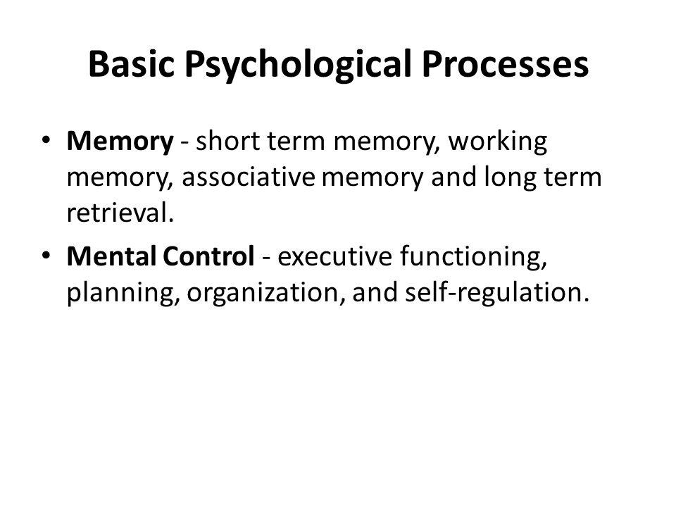 Basic Psychological Processes Memory - short term memory, working memory, associative memory and long term retrieval.