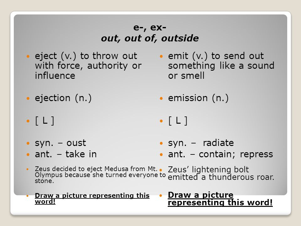 e-, ex- out, out of, outside eject (v.) to throw out with force, authority or influence ejection (n.) [ L ] syn.