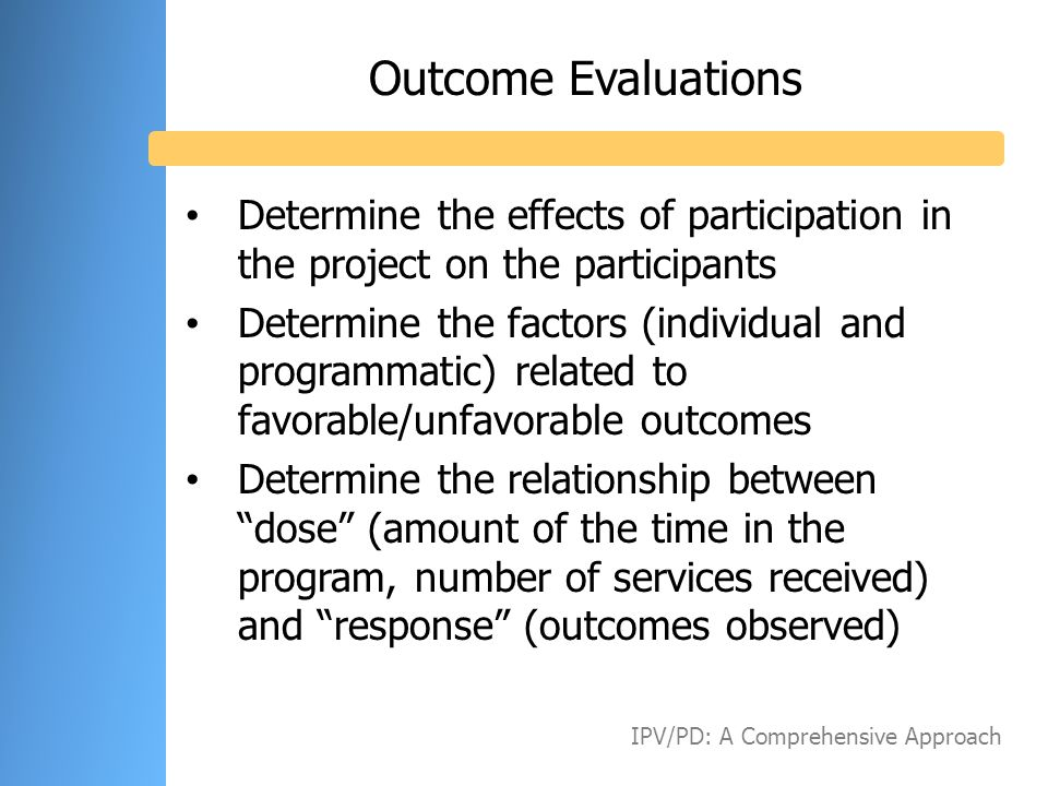 Outcome Evaluations Determine the effects of participation in the project on the participants Determine the factors (individual and programmatic) rela