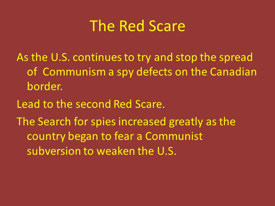 The Red Scare As the U.S.