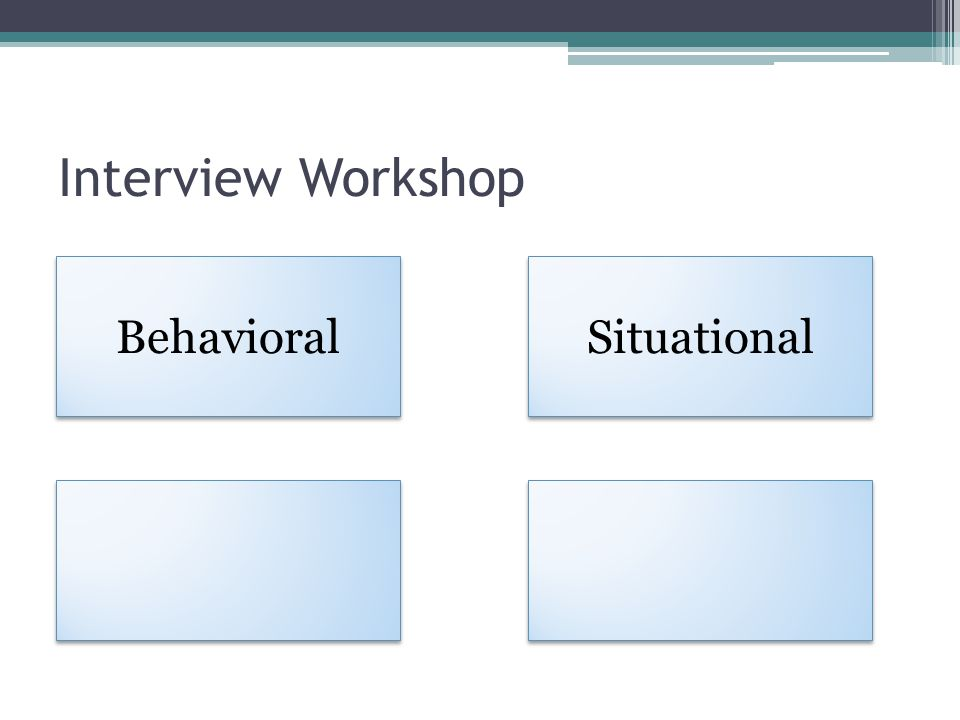 Interview Workshop Behavioral Situational