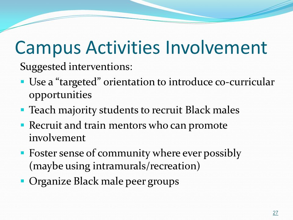 """Campus Activities Involvement Suggested interventions:  Use a """"targeted"""" orientation to introduce co-curricular opportunities  Teach majority studen"""