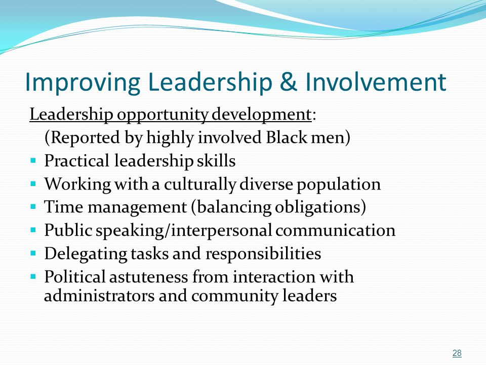 Improving Leadership & Involvement Leadership opportunity development: (Reported by highly involved Black men)  Practical leadership skills  Working