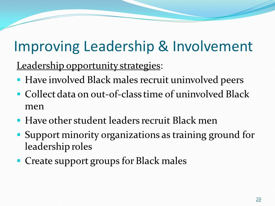 Improving Leadership & Involvement Leadership opportunity strategies:  Have involved Black males recruit uninvolved peers  Collect data on out-of-cl