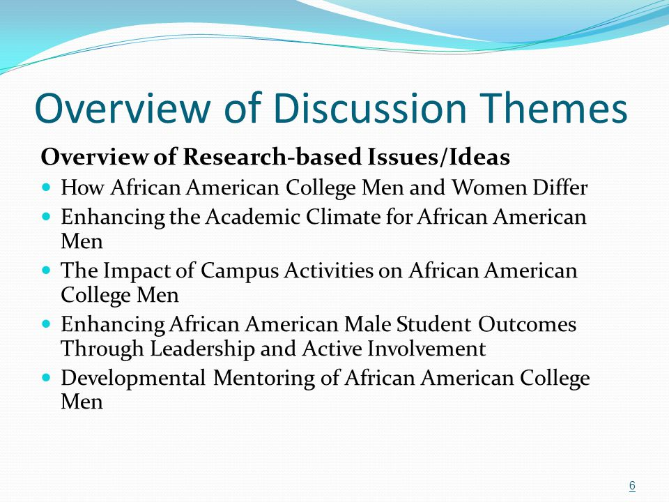 Review of Highlighted Programs Black Men's Collective, Rutgers, The State University of New Jersey (brings together all Black men on campus) Black Male Rap Session, University of Louisville (loosely organized, current topical issues) AAMASU: African American Men of Arizona State University (structured; high school and collegiate) 47