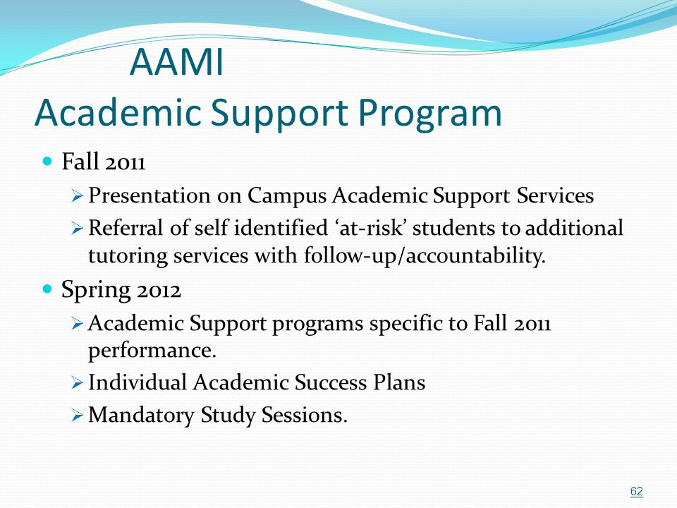 AAMI Academic Support Program Fall 2011  Presentation on Campus Academic Support Services  Referral of self identified 'at-risk' students to additio
