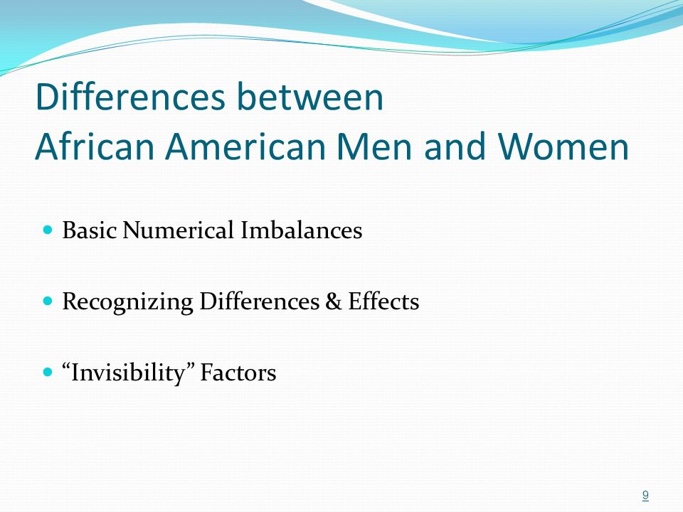 """Differences between African American Men and Women Basic Numerical Imbalances Recognizing Differences & Effects """"Invisibility"""" Factors 9"""