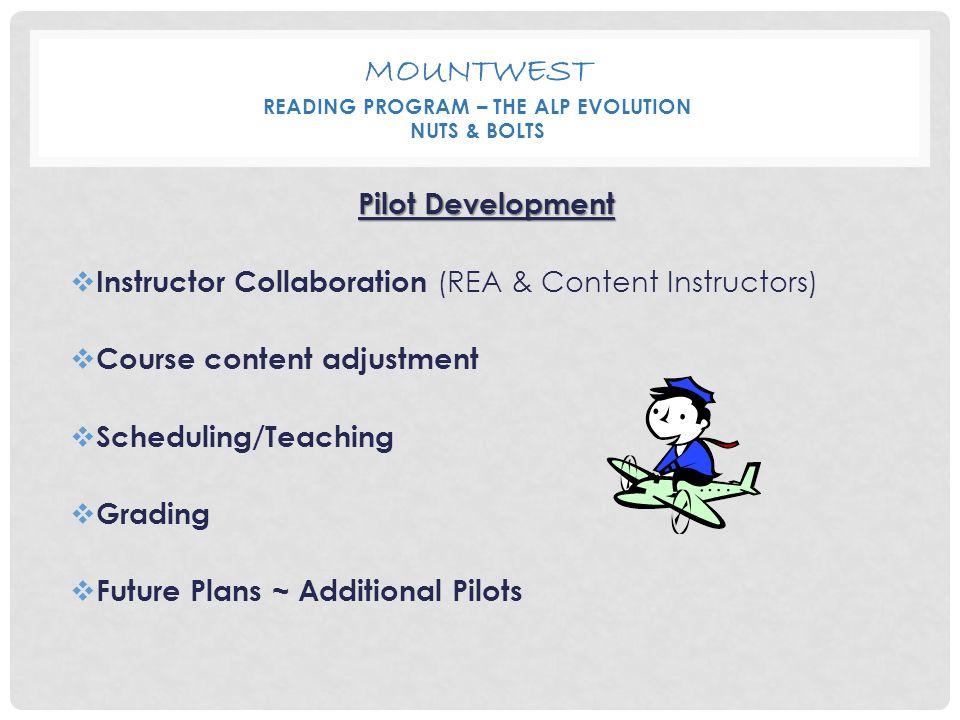 MOUNTWEST READING PROGRAM – THE ALP EVOLUTION NUTS & BOLTS Pilot Development  Instructor Collaboration (REA & Content Instructors)  Course content adjustment  Scheduling/Teaching  Grading  Future Plans ~ Additional Pilots
