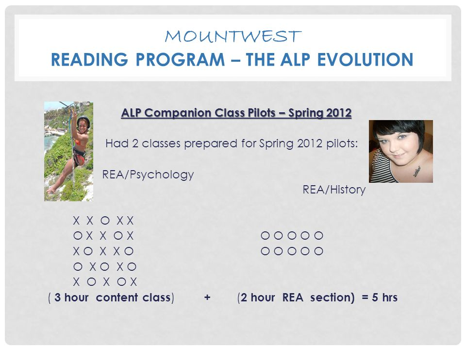 MOUNTWEST READING PROGRAM – THE ALP EVOLUTION ALP Companion Class Pilots – Spring 2012 Had 2 classes prepared for Spring 2012 pilots: REA/Psychology REA/History X X O X X O X X O X O O O O O X O X X O O O O O O O X O X O X O X O X ( 3 hour content class ) + ( 2 hour REA section) = 5 hrs