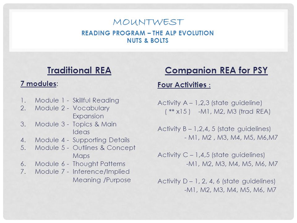 MOUNTWEST READING PROGRAM – THE ALP EVOLUTION NUTS & BOLTS Traditional REA 7 modules : 1.