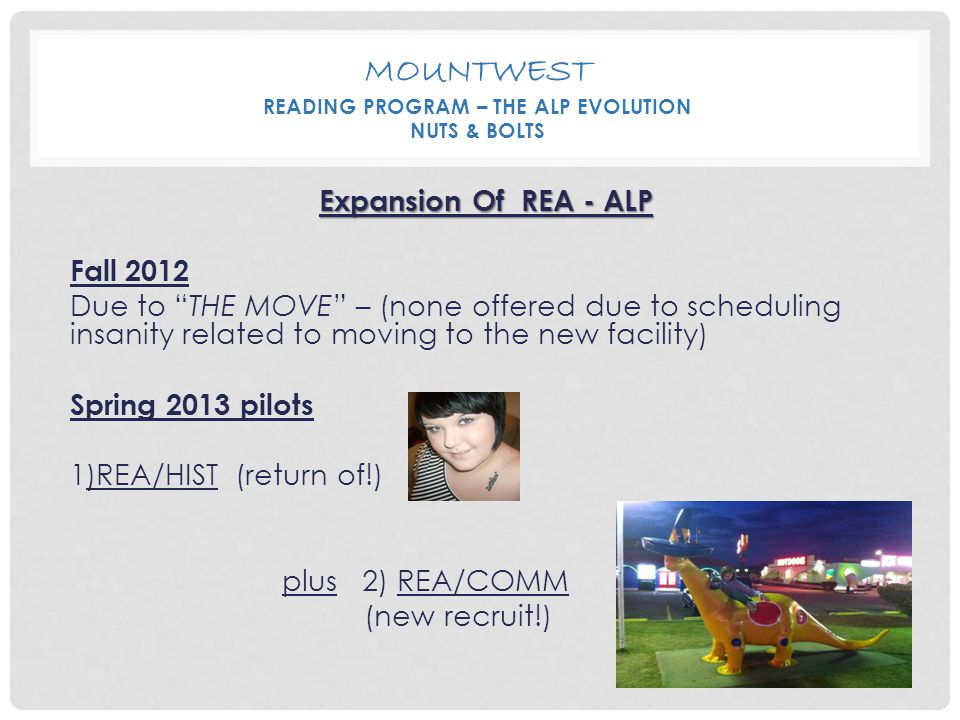 "MOUNTWEST READING PROGRAM – THE ALP EVOLUTION NUTS & BOLTS Expansion Of REA - ALP Fall 2012 Due to ""THE MOVE"" – (none offered due to scheduling insani"