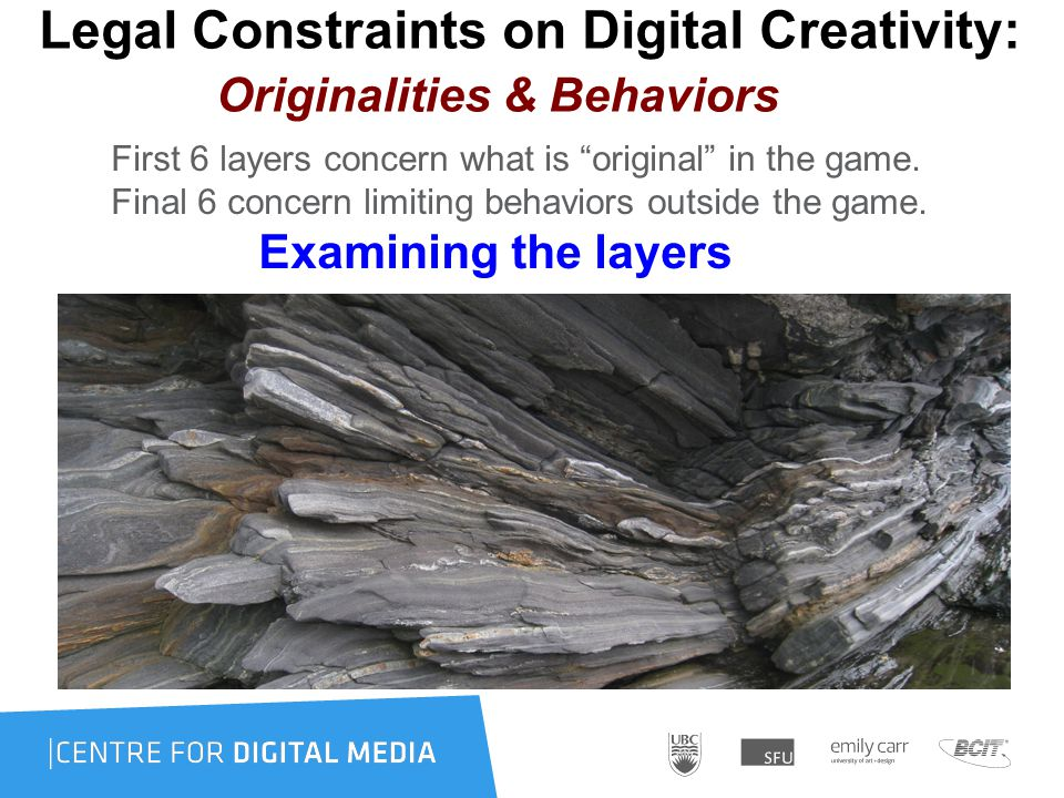 Legal Constraints on Digital Creativity: Originalities & Behaviors First 6 layers concern what is original in the game.