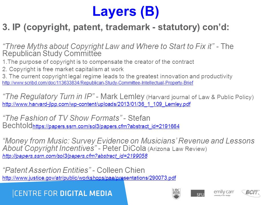 """Layers (B) 3. IP (copyright, patent, trademark - statutory) con'd: """"Three Myths about Copyright Law and Where to Start to Fix it"""" - The Republican Stu"""