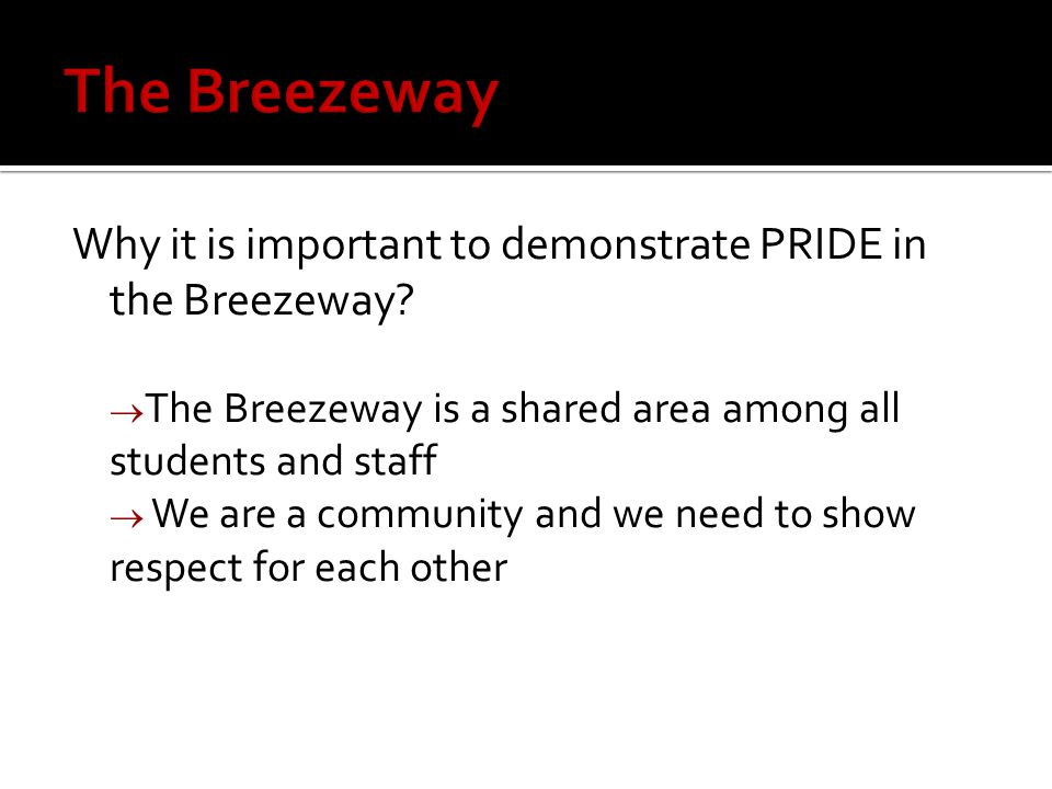 Why it is important to demonstrate PRIDE in the Breezeway.